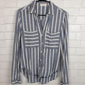 Bella Dahl Striped Shirt Frayed Raw Hem D99